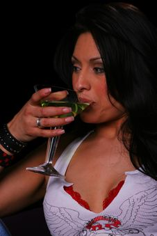 Free Country Girl Drinking Close Up Stock Photography - 2127622