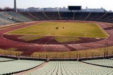 Walks On Empty Stadium Stock Photo