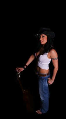 Free Country Girl Pose With Guitar Stock Photos - 2127663