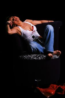 Free Country Girl Sleeping On Sofa Stock Photography - 2127672
