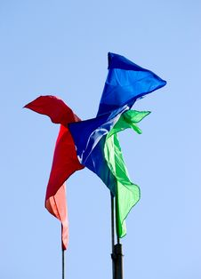 Three Colour Flags Waving Stock Image