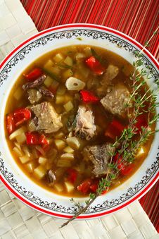 Soup With Potatoes And Meat Stock Photos
