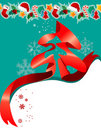 Free Christmas Greeting Card With Red Ribbon Stock Photos - 21203693