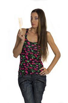 Free Girl Combs His Long Beautiful Hair Stock Image - 21200871
