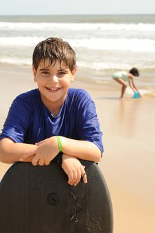 Boy At The Ocean Beach Stock Photography