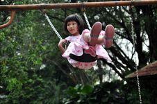 Girl Flying High On Swing Royalty Free Stock Image
