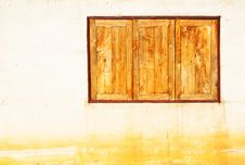 Free Wooden Window And Vintage Wall Stock Photography - 21203652