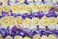 Free Many White Rose With Ribbon Royalty Free Stock Image - 21204026