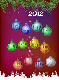 Free Calendar 2012 - Decoration Balls Stock Photos - 21204093
