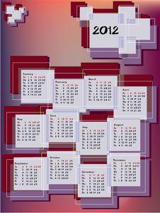 Free Calendar 2012 In Rectangles Royalty Free Stock Photos - 21204098