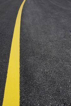Street With Yellow Line Stock Photo