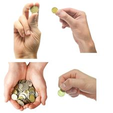 Hand And Coins Collection Stock Images