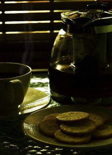 Fresh Hot Tea With Biscuits 02 Stock Photos