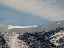 Mountain Top Snow Drift Stock Photo