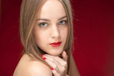 Free Woman With Red Lips And Manicure Stock Images - 21207034