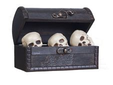 Free Human Skulls In A Wooden Chest Stock Photos - 21207453