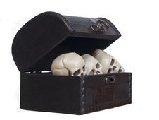Free Human Skulls In A Wooden Chest Stock Image - 21207461