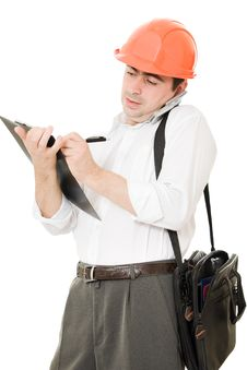 Free Busy Businessman In His Helmet Stock Image - 21208971