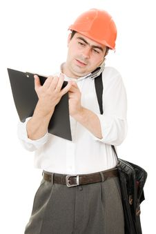 Free Busy Businessman In His Helmet Royalty Free Stock Photo - 21208975