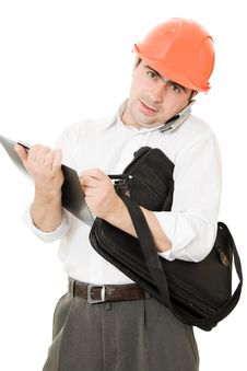Free Busy Businessman In His Helmet Stock Photo - 21208980