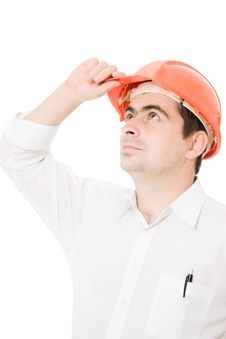 Businessman In A Helmet Looking Up. Royalty Free Stock Photos