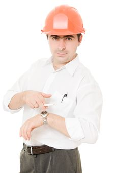 Free Businessman In A Helmet With A Cigarette. Stock Photo - 21209190