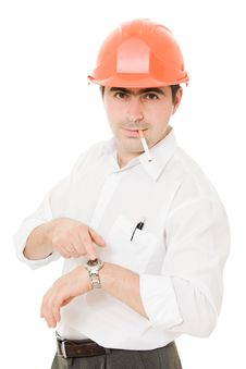 Free Businessman In A Helmet With A Cigarette. Stock Image - 21209201