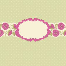 Template Frame Design For Greeting Card . Royalty Free Stock Photography