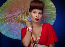Free Asian Woman With Parasol Royalty Free Stock Photos - 21209368