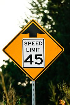 Free Road Sign Used In The US, 45 MPH Speed Limit. Stock Photos - 21209403