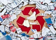 Free Recycle Symbol With Pieces Of Paper Stock Photography - 21209552