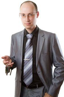 Free Elegant Man With Car Keys On A White Background Royalty Free Stock Photo - 21209715