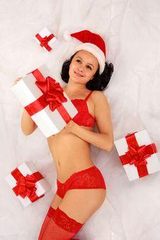Free Sexy Santa Girl With Gift Boxes Royalty Free Stock Photos - 21209758