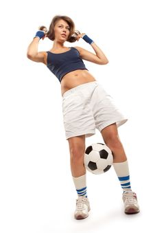 Free Sexy Girl With Soccer Ball Stock Photo - 21209770