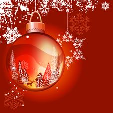 Free Christmas Background With Ball And Snowflakes Stock Photos - 21209773