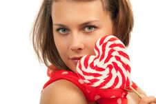Free Portrait Of Young Woman With Lollipop Stock Photos - 21209783