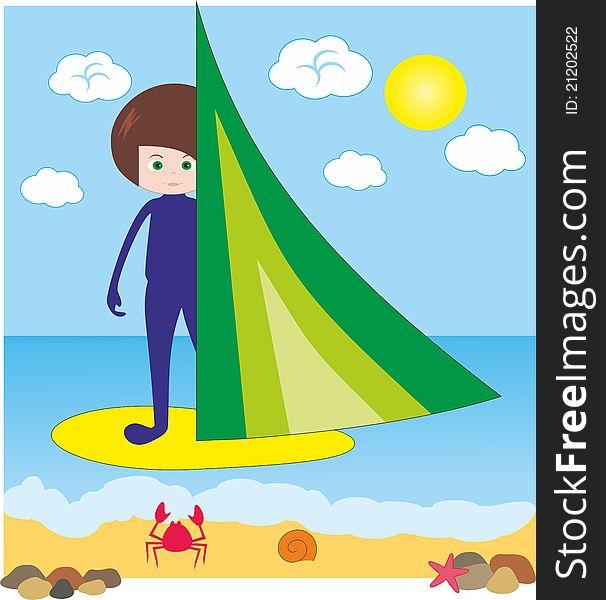 Boy on windsurfing in sea