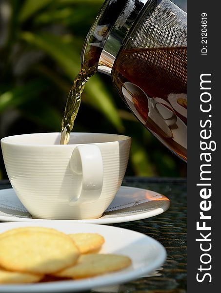 Tea break with biscuits