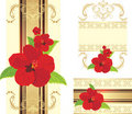 Free Red Flowers On The Decorative Ribbon With Ornament Stock Image - 21211671