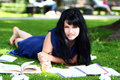 Free Beautiful Girl Studying In Park Stock Photography - 21213372