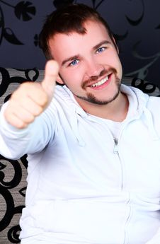 Young Guy Showing OK Sign Stock Image