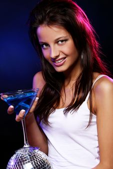Free Young And Beautiful Woman In The Nightclub Royalty Free Stock Photos - 21213428