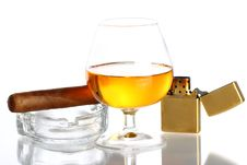 Free Glass Of Whiskey And Cigar Stock Photos - 21213463