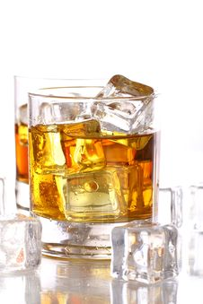 Free Glasses With Cold Whiskey Stock Image - 21213521