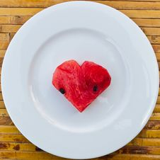 Heart Shape Watermelon On White Dish Stock Photo