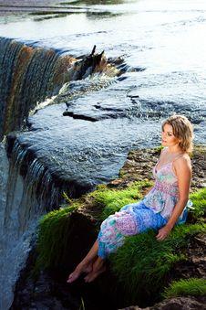 Free Beautiful Girl On Brink Of River Waterfalls Stock Photo - 21215540