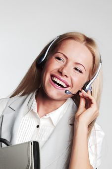 Free Business Woman In A Headset Stock Photo - 21215960