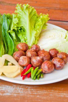 Thai Style Sausage Stock Photos