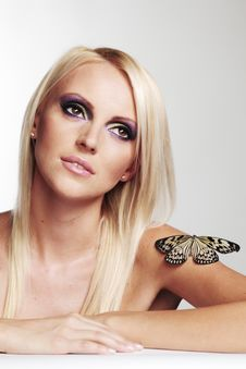 Free Woman With A Butterfly Royalty Free Stock Image - 21216116