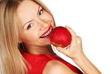 Free Woman And Red Apple Royalty Free Stock Photo - 21216645